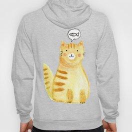 Watercolor Orange Cat Hoody