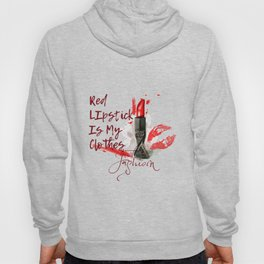 Fashion pattern with red lipstick. Conceptual illustration Hoody