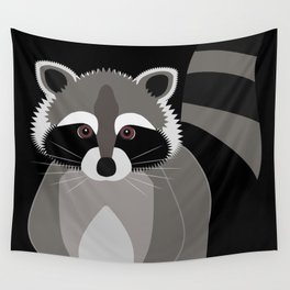 Raccoon in the Night Wall Tapestry
