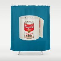 poop Shower Curtains featuring War Roll | Poop Art by Nicholas Ely