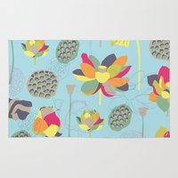 lotus flower Area & Throw Rugs featuring Lotus by Ferntree Studio