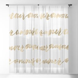 Amour French Love Script Gold Typography Pattern Sheer Curtain