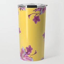 DECORATIVE YELLOW MODERN ART FLORAL Travel Mug
