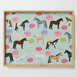 Horses Donuts - horse, donut, pastel, food, horse blanket, horse bedding, dorm, cute design Serving Tray