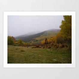 Rolling Fog on A Golden Peak Art Print