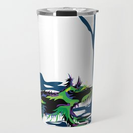"""Wolfdog"" Paulette Lust Original, Contemporary, Whimsical, Colorful Art Travel Mug"