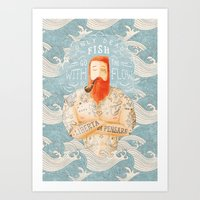 orange Art Prints featuring Sailor by Seaside Spirit