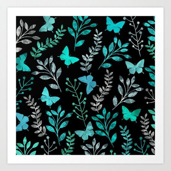Watercolor flowers & butterflies IV Art Print
