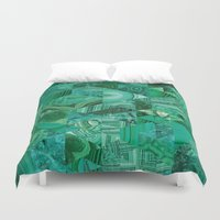 malachite Duvet Covers featuring Malachite Fusion by Kiss the Sky