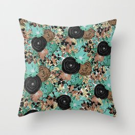 Black Brown and Teal Watercolor Floral Throw Pillow