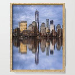 Cityscape of Financial District of New York Serving Tray