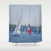 racing Shower Curtains featuring Racing by Nonna Originals