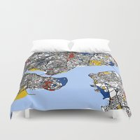 istanbul Duvet Covers featuring Istanbul mondrian by Mondrian Maps