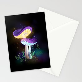 Two Glowing Mushrooms Stationery Cards