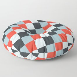 Stainless steel knife - Pixel patten in light gray , light blue and red Floor Pillow