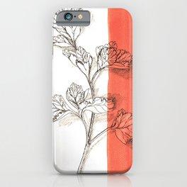 parsley branch nature watercolor orange iPhone Case