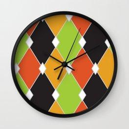 Orange, green and black jester diamonds Wall Clock