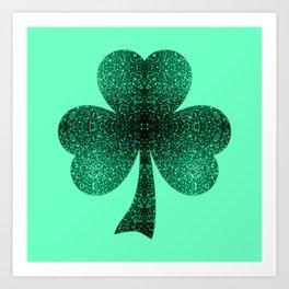 Emerald green shamrock clover sparkles Art Print