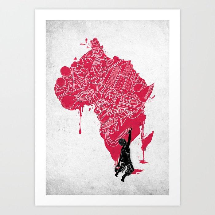 RE   Draw AFRIKA Art Print