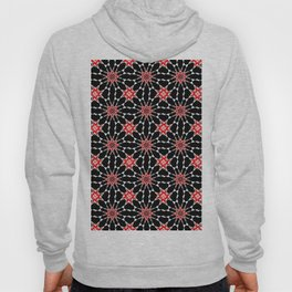 Bizarre Geometric Red Black and White Tile Pattern Hoody