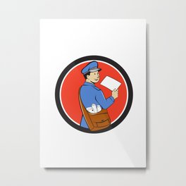 Mailman Deliver Letter Circle Cartoon Metal Print