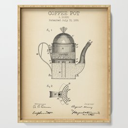 Coffee Pot vintage patent Serving Tray