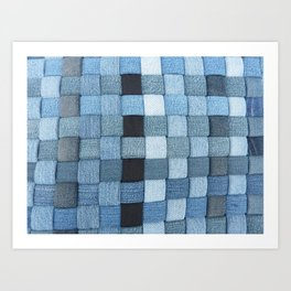 Woven Denim - Shades of Blue Art Print