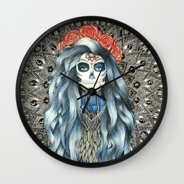 Full Page Day of the Dead Woman Mandala Wall Clock
