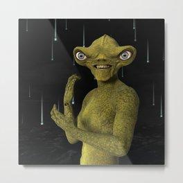 Green Alien Metal Print