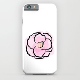 Watercolor pink flower iPhone Case