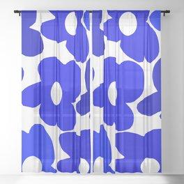 Large Blue Retro Flowers White Background Fresh Blue And White  #decor #society6 #buyart Sheer Curtain
