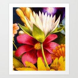 'Moi et Mes Parroquets' floral portrait painting by Frida Khalo Art Print