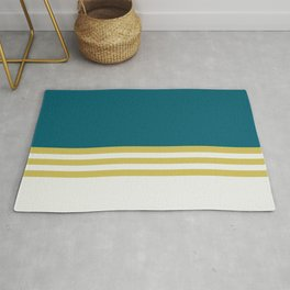 Off White, Dark Yellow and Tropical Dark Teal Inspired by Sherwin Williams 2020 Trending Color Oceanside SW6496 Straight Horizontal Triple Stripe Pattern 3 Rug