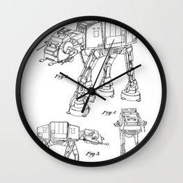 At At Walker Patent - At-At Walker Art - Black And White Wall Clock