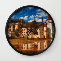castle in the sky Wall Clocks featuring Castle by DistinctyDesign