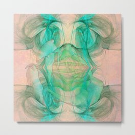 Mysterious rose emerging from the fractal space Metal Print