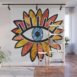 Greek Evil Eye Peach Flower Wall Mural