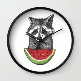 Racoon and watermelon Wall Clock