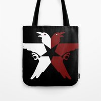 infamous Tote Bags featuring Infamous Eagles by Rebekhaart