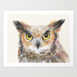 Owl Watercolor Great Horned Owl Painting Art Print