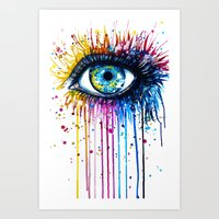 "shipping Art Prints featuring ""Rainbow Eye"" by PeeGeeArts"