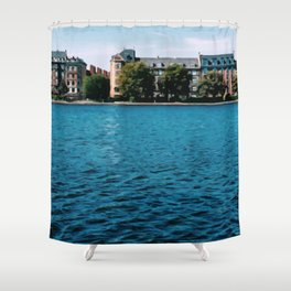 Painting of Danish Buildings along the Copenhagen Lakes, on a Clear and Sunny Summer's Day Shower Curtain