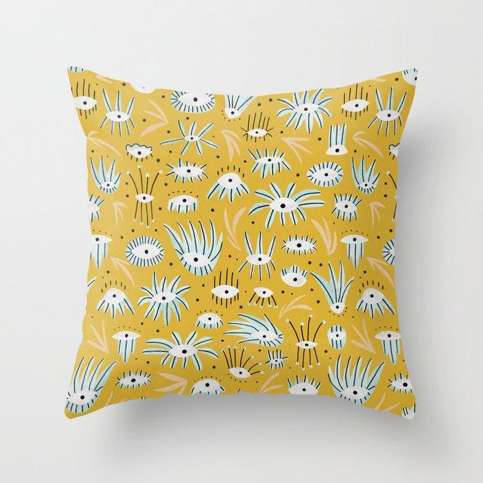 Eye Garden in Mustard Throw Pillow