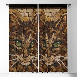 Portrait Of A Cat Made Of Stones Blackout Curtain