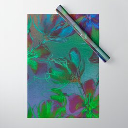 Jewel Toned Flowers Wrapping Paper