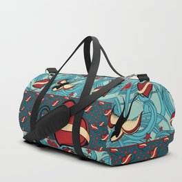 Cherry, Hearts, bird and stars on Rockabilly Tattoos Collection - Vintage blue Duffle Bag