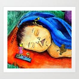 Little Bear's Picnic Art Print