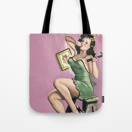 DIY - Vintage Pin Up Girl Art Tote Bag