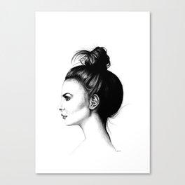 Untitled 8 Willa Holland High Messy Bun Hair Minimalist Modern Fine Art Illustration Scandinavian Canvas Print