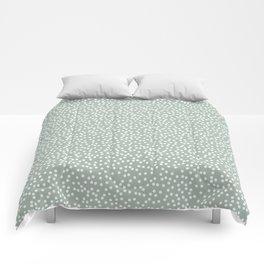 Light Gray Green and White Polka Dot Pattern Comforters